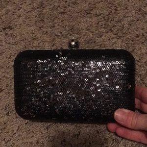 Black Sequin Evening Hard Sided Clutch Bag